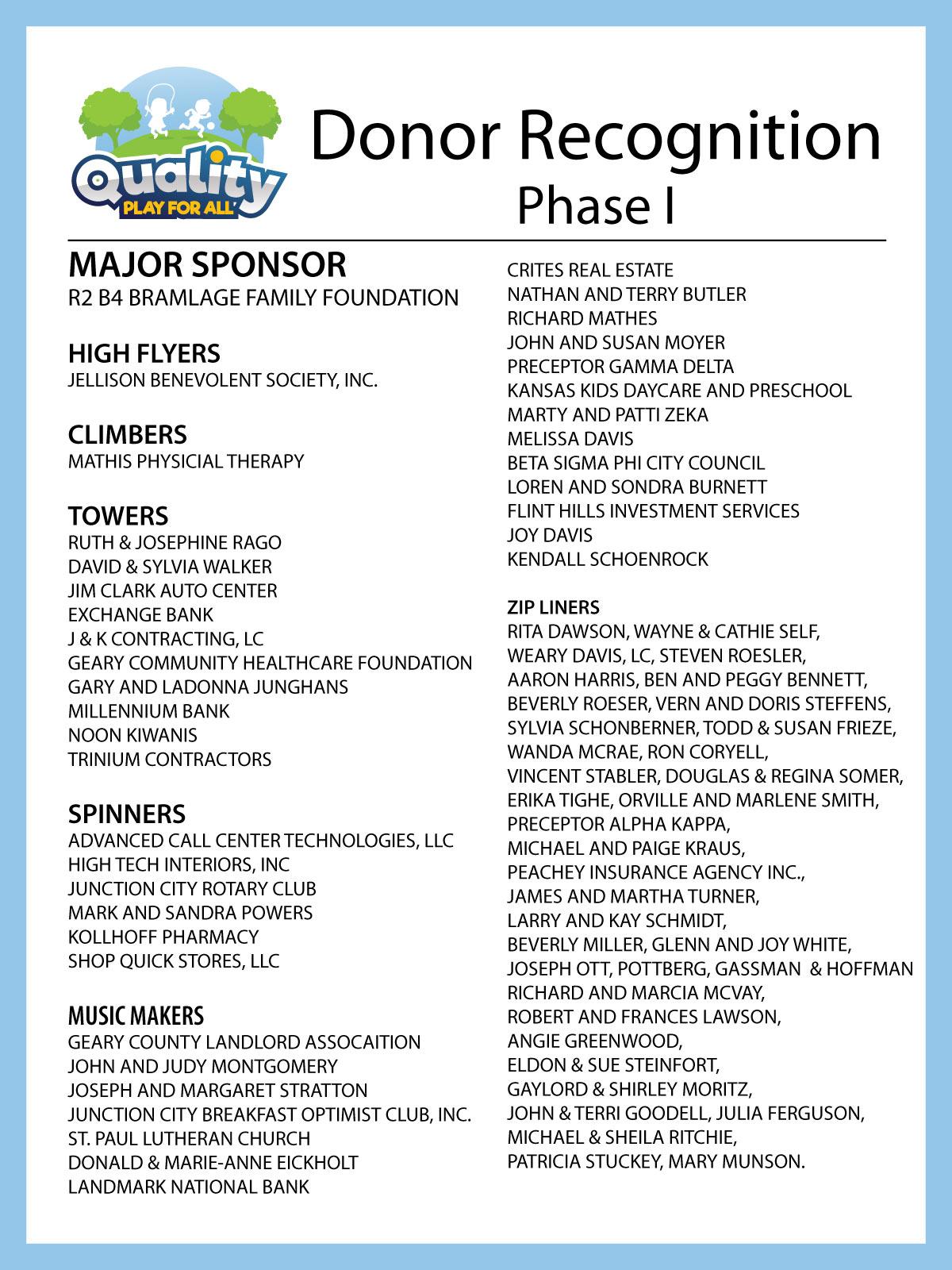 Thank You Phase 1 Donors!